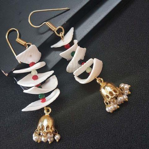 White Sippi Sea Shell Earrings With Golden Jhumki For Girls / Women