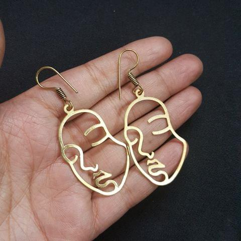 Antique Gold Polish Face Earrings