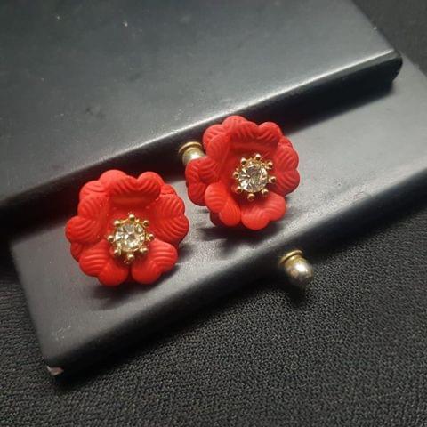 Designer Red Flower Earrings