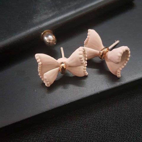 Bow Stud Small Peach Earrings