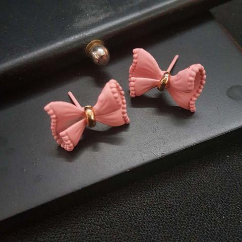 Light Pink Bow Stud Small Earrings