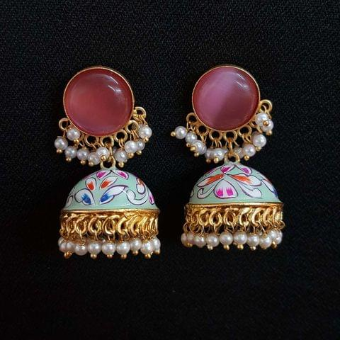Baby Pink Painting Jhumki Earrings With Pearl Beading