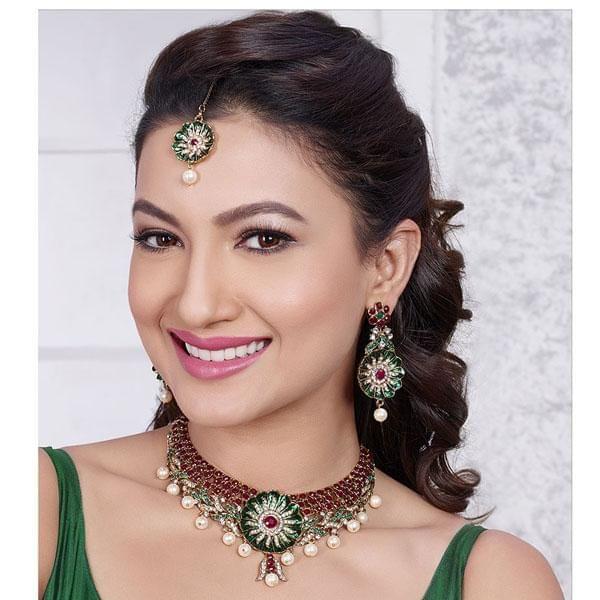 Meenakari Gold Plated Necklace Set With Maang Tikka