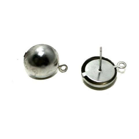 Silver Earrings Components Studs 5 Pairs 12mm