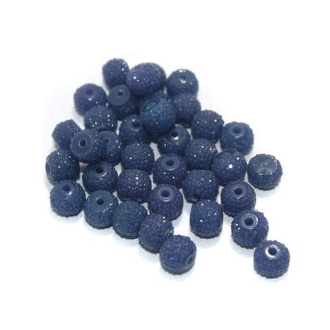 100 Pcs Acrylic Sugar Beads 7x8mm Blue