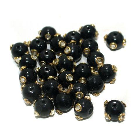 50 Pcs Glass Kundan Beads Round 10mm Black
