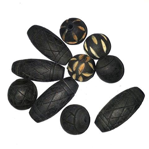 50 Pcs. Wooden Mix Beads Black 50-23 mm