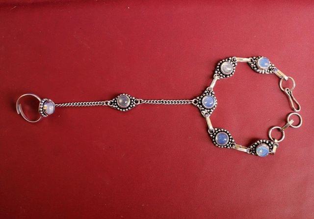 German Silver Stone Beaded Hathphool Skyblue