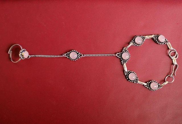 German Silver Stone Beaded Hathphool Pink