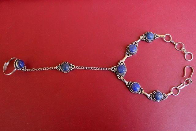 German Silver Stone Beaded Hathphool Blue