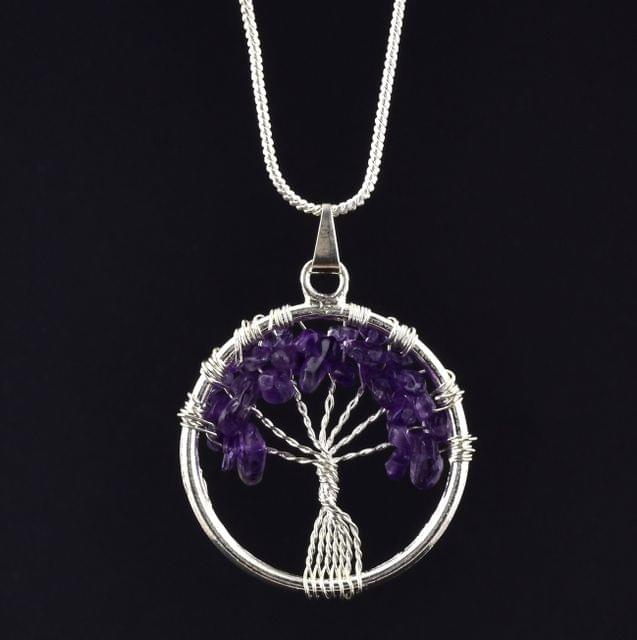Amethyst Tree Of Life Necklace for Intuition, Balance and Higher Wisdom