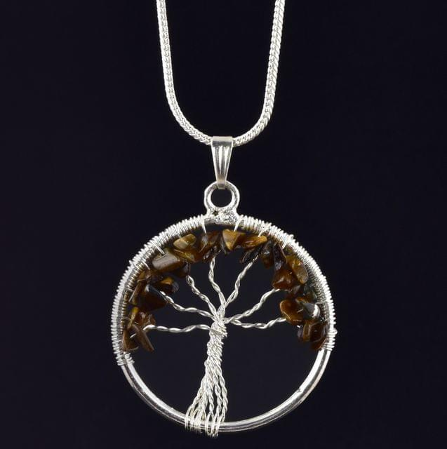 Tiger Eye Tree Of Life Necklace for Willpower, Self Motivation and Warrior's spirit