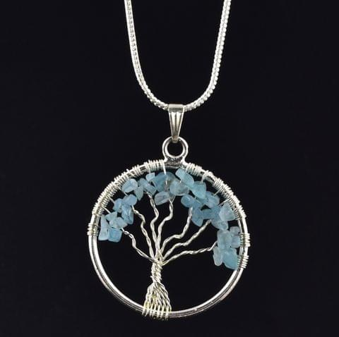 Amazonite Tree Of Life Necklace for Confidence, Self Love and Creative Expression