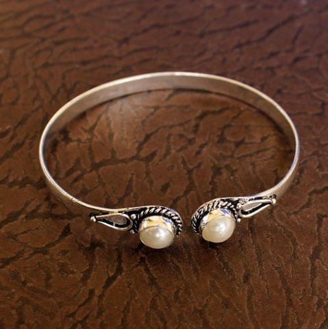 German Silver Adjustable Stone Kada White