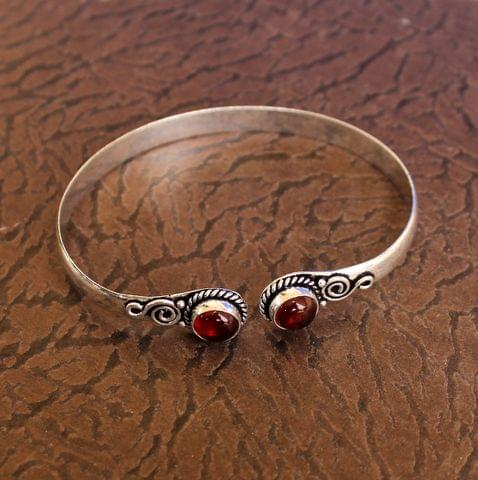 German Silver Adjustable Stone Bracelet Maroon
