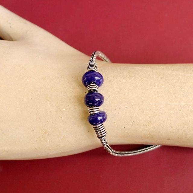 German Silver Trendy Beaded Bracelet Blue