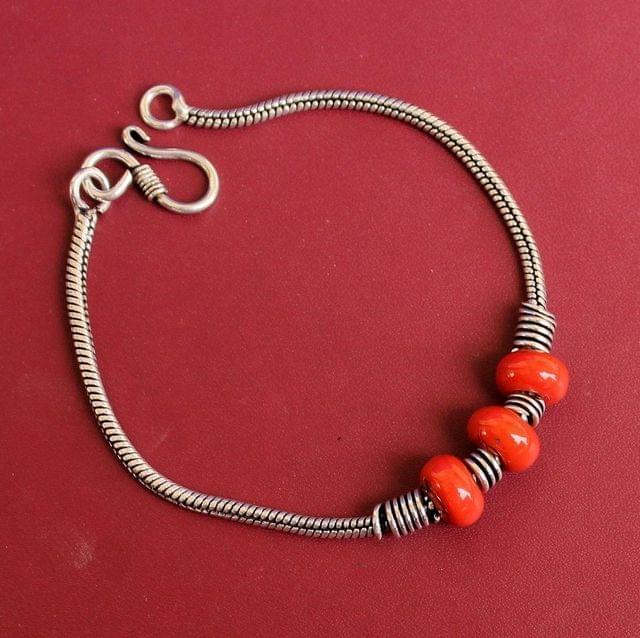 German Silver Trendy Beaded Bracelet Red
