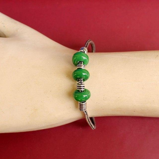 German Silver Trendy Beaded Bracelet Green