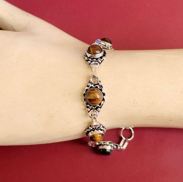 German Silver Stone Beaded Trendy Bracelets Golden