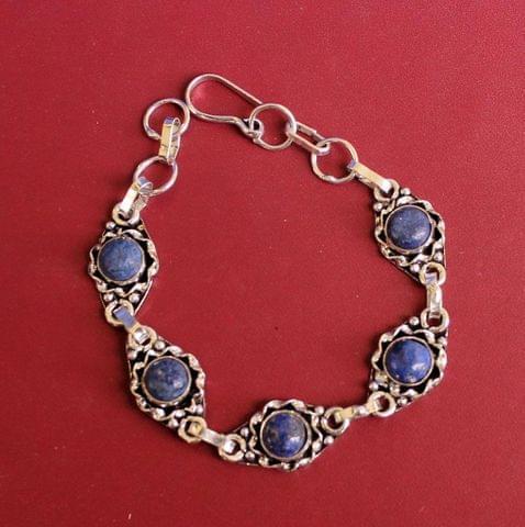 German Silver Stone Beaded Trendy Bracelets Blue