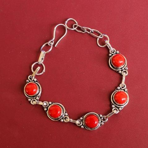 German Silver Stone Beaded Trendy Bracelets Red