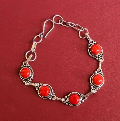 German Silver Stone Beaded Trendy Bracelets Red
