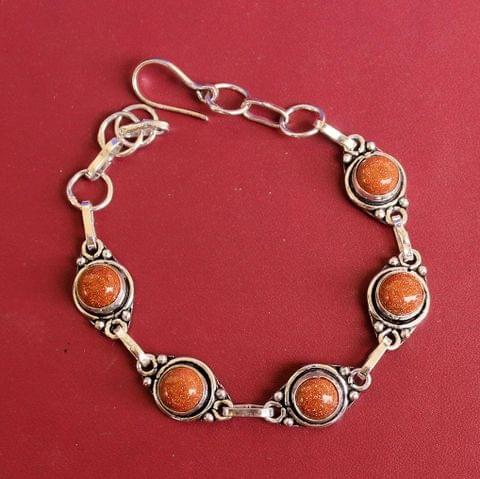 German Silver Stone Beaded Trendy Bracelets Orange