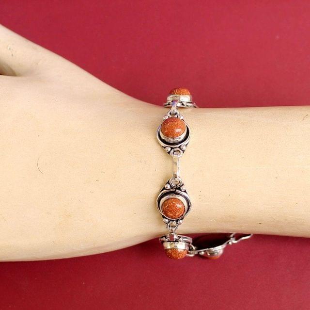 German Silver Stone Beaded Trendy Bracelets Orange