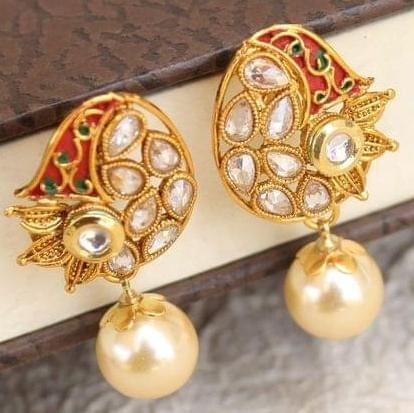 Designer Kundan Meena Pearl Earrings