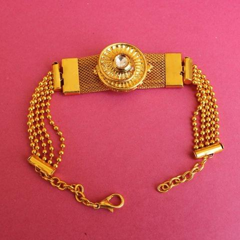 Gold Plated Kundan Chain Bracelet
