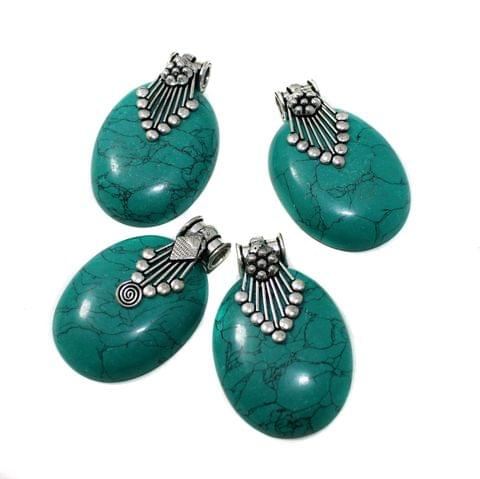 1 Pc German Silver Stone Pendant Turquoise 1-2.5 Inch