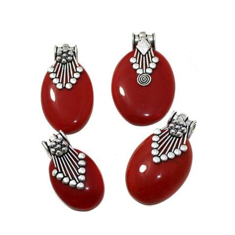 1 Pc German Silver Stone Pendant Red 1-2.5 Inch