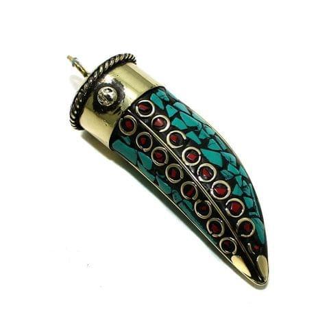 1 Pc Tibetan Pendant Dagger Multicolor 2.5 Inch