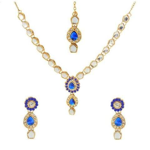 Blue Kundan Necklace Set With Maang Tikka