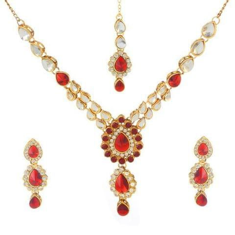 Red Kundan Necklace Set With Maang Tikka
