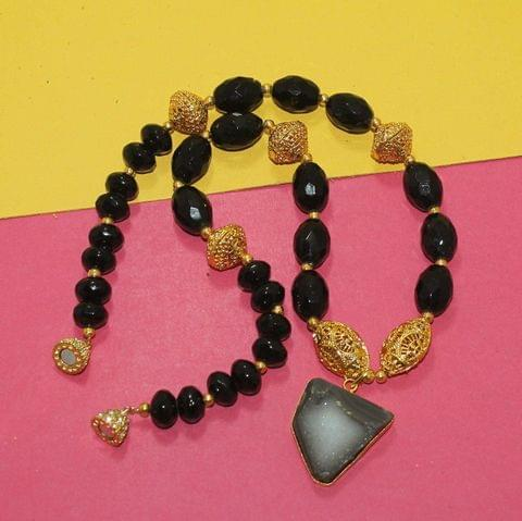 Designer Handmade Faceted Beaded Druzy Necklace Set With Magnetic Clasp