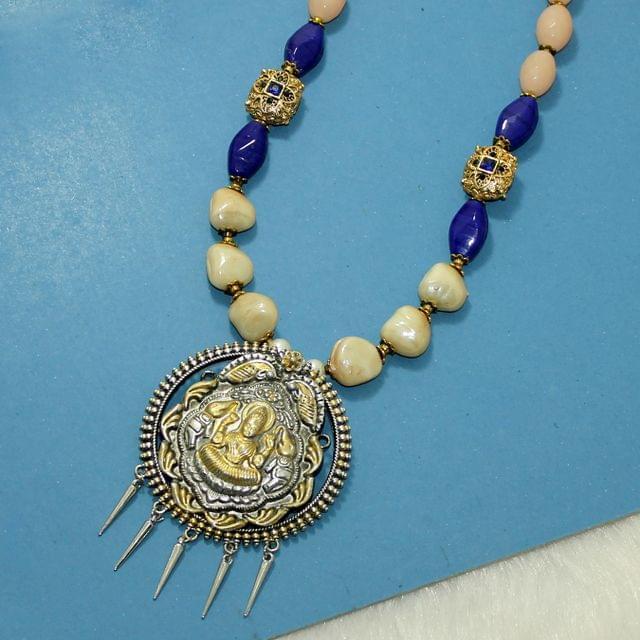 German Silver Laxmi Pendant Necklace Set