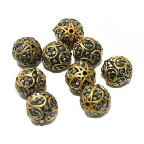 10 Pcs CZ Beads Golden 10mm
