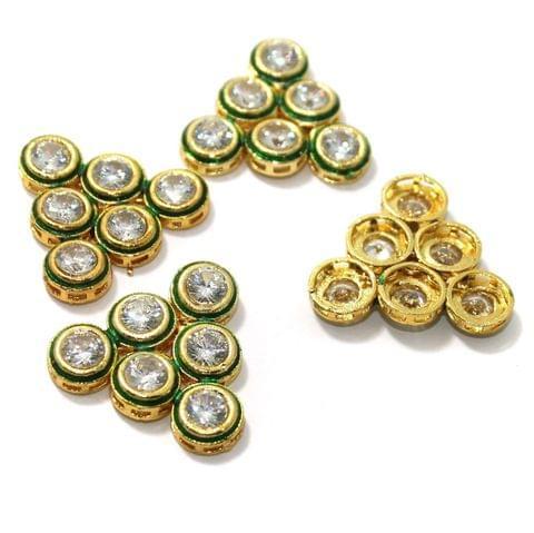 4 Pcs Kundan Connectors 28x30mm Golden