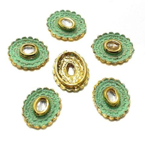 10 Pcs Kundan Connectors 19x16mm Golden