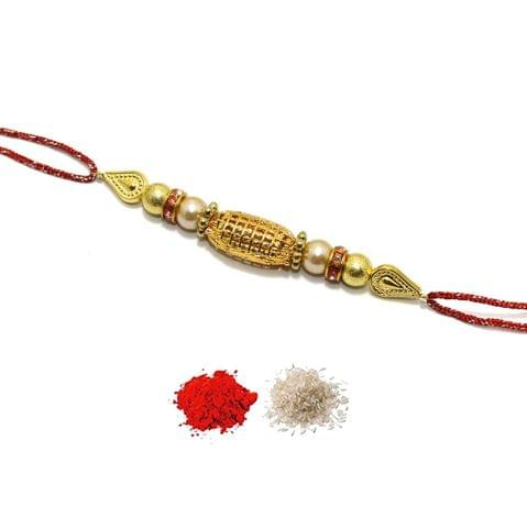 Gold Plated Beaded Rakhi With Roli Chawal
