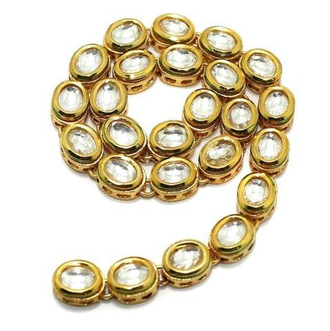 25 Pcs Golden Kundan Kadi Oval Shape
