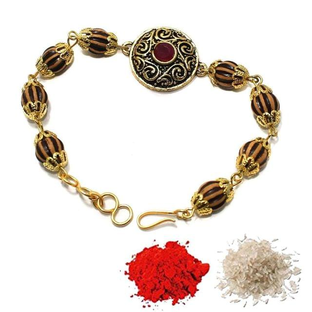 Gold Plated Kundan Bracelet Rakhi 1Pc
