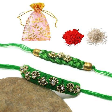 Thread Bhaiya Bhabhi Rakhi Set With Roli Chawal and Potli