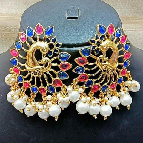 Blue-Red Pearl Earrings