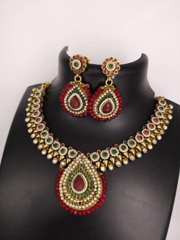 Green Red Pearl wedding Stone Jhumki Jewelry Set Earrings Gold Tone