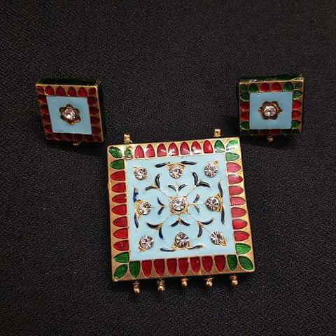 Traditional Turquoise Meenakari Pendant With Combo Earring, Pendant- 1.75 inch, Earring- 0.75 inch