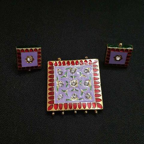 Traditional Light Purple Meenakari Pendant With Combo Earring, Pendant- 1.75 inch, Earring- 0.75 inch