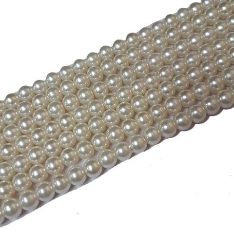 8mm, Cream Glass Pearl String For Jewellery Making, 107+ Beads In Each Line , 5 Lines