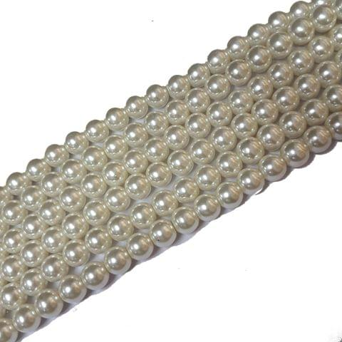 10mm, Cream Glass Pearl String For Jewellery Making, 85+ Beads In Each Line , 5 Lines